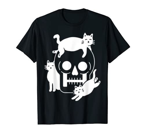 Funny Scary Cats Playing With Skull In Halloween Gift shirt