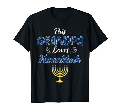 Mens This Grandpa Loves Hanukkah Costume Jewish Family Chanukkah T Shirt