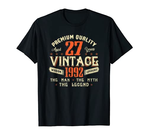 Legends Born In 1992 Aged 27 Years Old Awesome Birthday 27th T Shirt