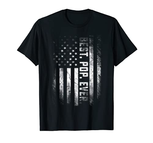 Mens Vintage Best Pop Ever American Flag Father's Day Gifts T Shirt