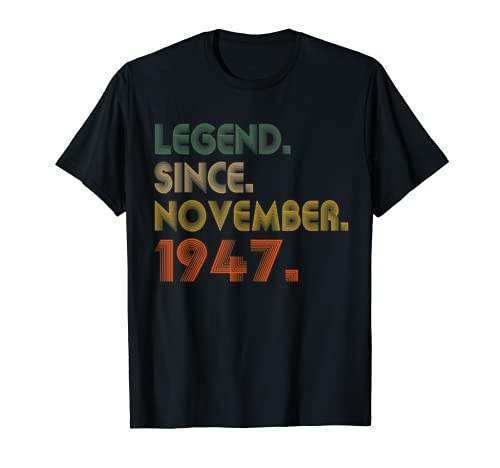 Legend Since November 1947 72nd Birthday Gift 72 Years Old T Shirt