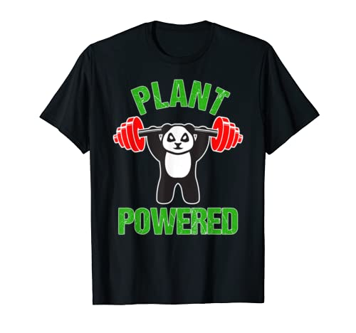 Plant Powered Shirt Vegan Gym Vegan Panda Bear Workout Gift T Shirt