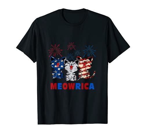 Meowrica Patriotic Cats 4th Of July T-shirt