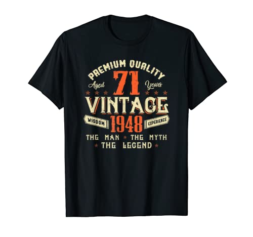 Legends Born In 1948 Aged 71 Years Old Awesome Birthday 71st T Shirt