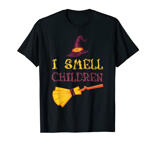 I Smell Children Witch Broom Hat Halloween Costume Gift  T Shirt