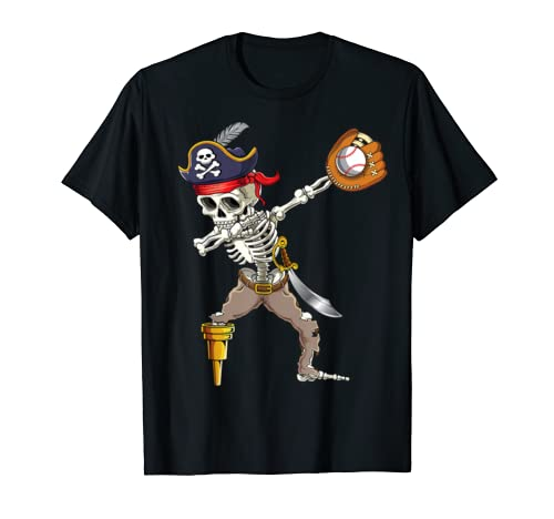 Dab Skeleton Shirt Dabbing Skeleton Pirate Baseball Shirt