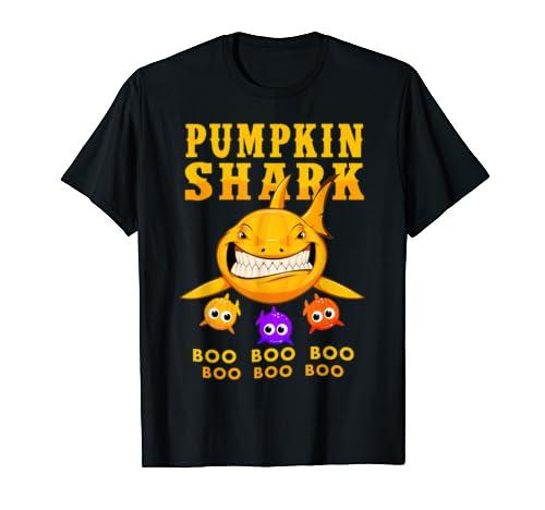 Pumpkin Shark Boo Boo Boo T Shirt Funny Halloween Gift T Shirt
