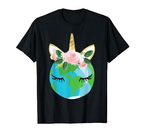 Floral Unicorn Earth T-shirt Earth Day Gift Shirt