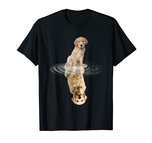Golden Retriever Reflection T Shirt Funny Father's Day Dog