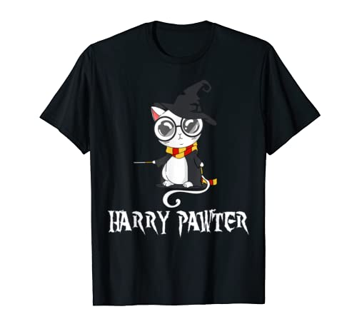 Funny Harry Pawter Hairy Cat  Lovers T Shirt Men Women Kids