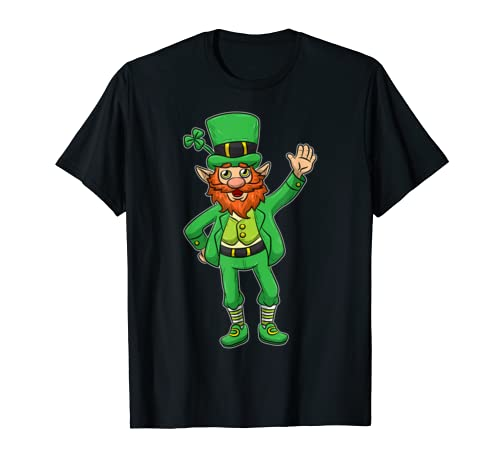 Cute Leprechaun Image St Patricks Day Lucky Shamrock Drawing T Shirt