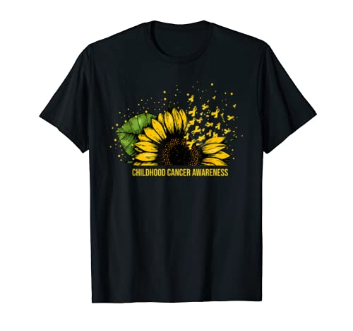Childhood Cancer Awareness Costume Sunflower Ribbon Gift T Shirt