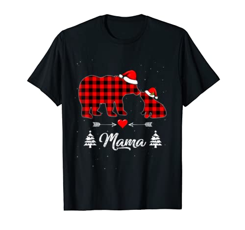 Red Plaid Mama Bear Matching Buffalo Pajama Gift T Shirt