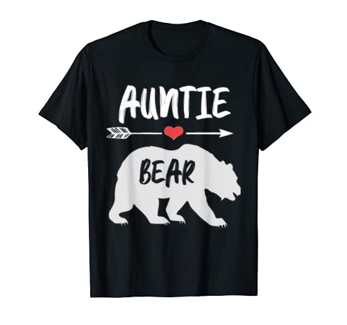 Womens Auntie Bear Mother's Day Gift V Neck T Shirt