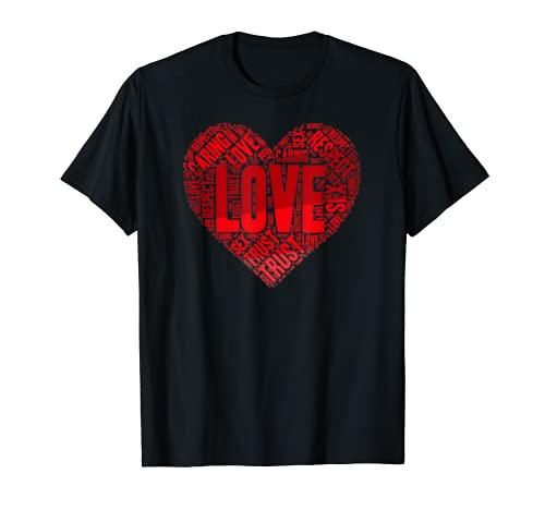 Love Red Heart Shape Valentines Day Shirt Romantic Cool Gift