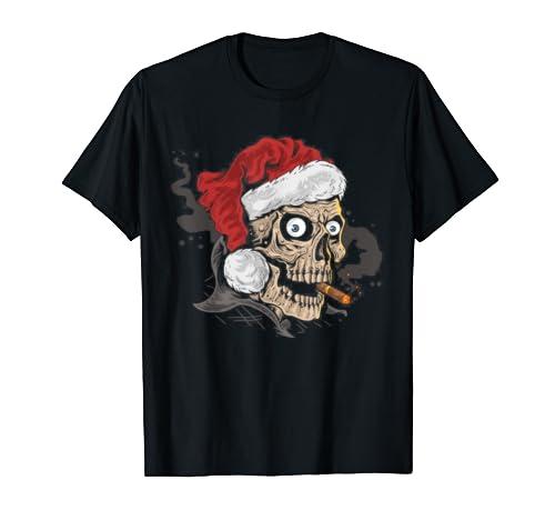 Funny Christmas Santa Claus Skull Halloween T Shirt