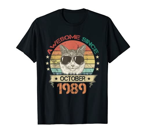 Awesome Since October 1989 Cat Lover 30th Birthday Gifts T Shirt