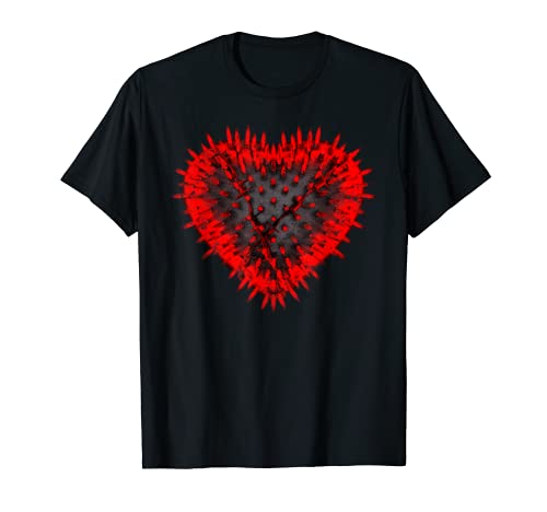 Gothic Heart Spikes Gift Red Black Distressed Valentine's T Shirt