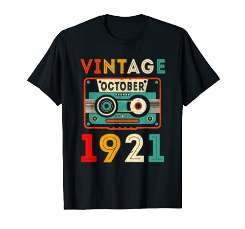 October 1921 T Shirt Vintage 98 Th Birthday Gift 98 Yrs T Shirt