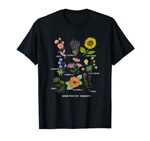 Cute Grow Positive Thoughts T Shirt Floral Lover Gifts T Shirt