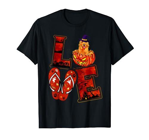 Halloween Love Retriever Flip Flops Pumpkin Funny Costume T Shirt
