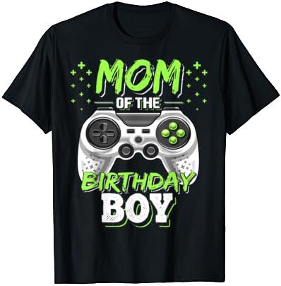 비디오 게이머 생일 파티 티셔츠를 일치하는 생일 소년의 엄마
