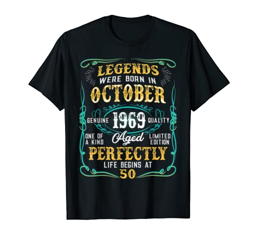Legends Were Born In October 1969 50th Birthday Gift Shirt T Shirt