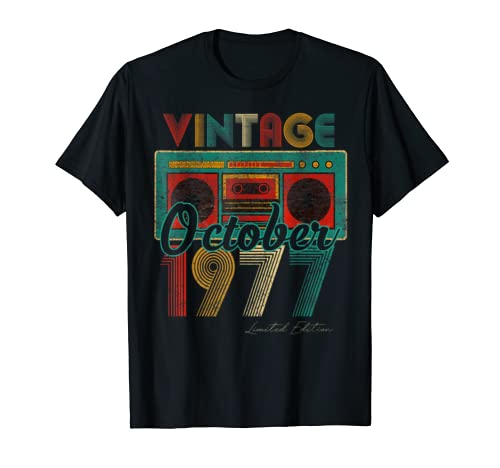 Vintage Cassett October 1977 Classic 42nd Bday 42 Yrs T Shirt