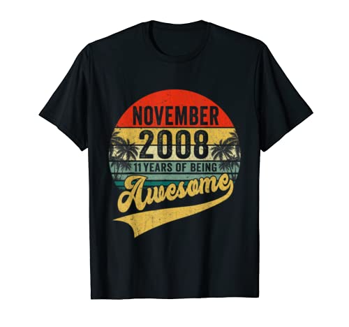 Vintage Retro November 2008 11th Birthday Gifts 11 Years Old T Shirt