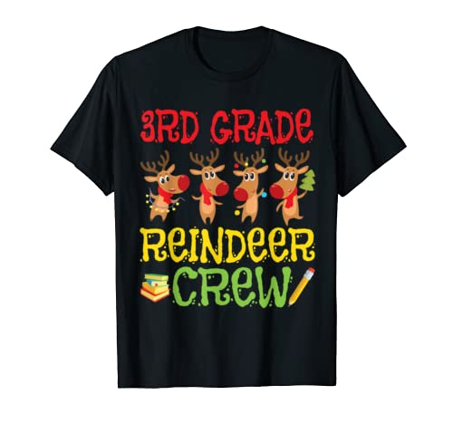 3rd Grade Reindeer Crew Student Team Merry Christmas Teacher T Shirt