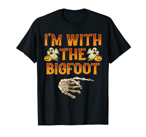 I'm With The Bigfoot Shirt Costume Funny Halloween Couple T Shirt