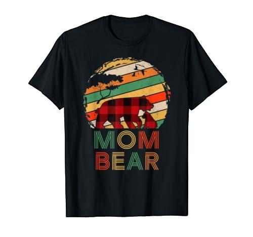 Retro Vintage Mom Bear Buffalo Pajama Christmas T Shirt