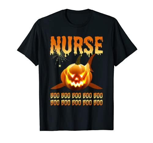 Nurse Pumpkin Shark Halloween Boo Boo Boo T Shirt