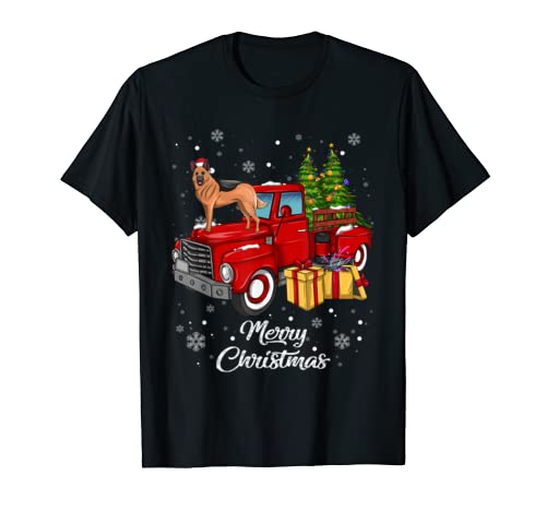 Belgian Malinois Rides Red Truck Christmas Pajama Gift T Shirt