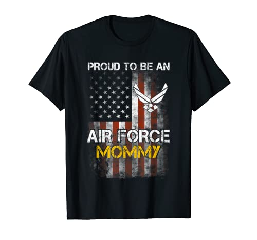 Proud Air Force Mommy Funny American Flag T Shirt T Shirt