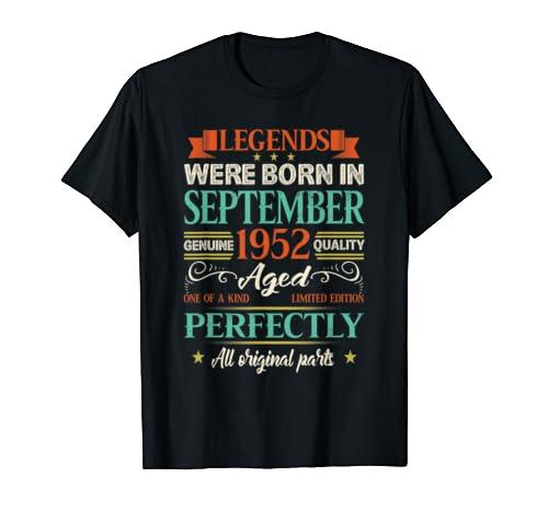 Legends Were Born In September 1952 Shirt 67th Birthday Gift