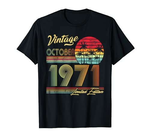 October 1971 Vintage 48th Birthday Decorations T Shirt