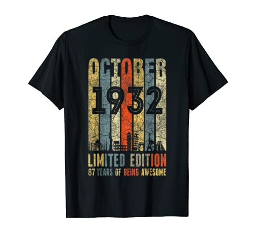 Vintage October 1932 87th Birthday 87 Years Old T Shirt