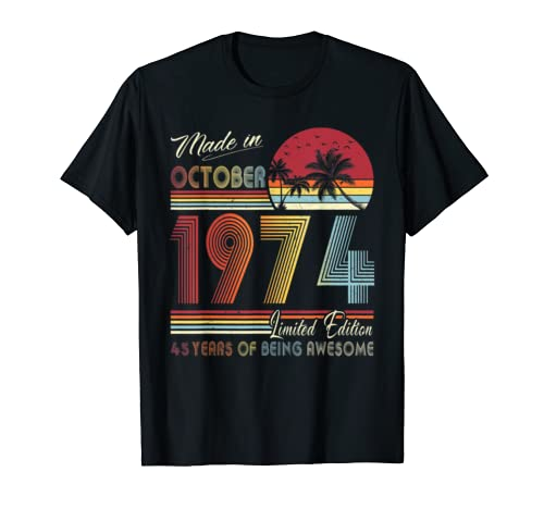 Made In October 1974 45 Vintage 45th Birthday Decorations T Shirt