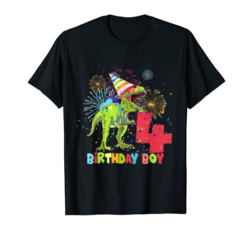 Kids Dinosaur 4 Years Old Kids 4th Birthday Gift T Shirt