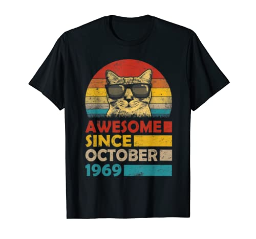 Awesome Since October 1969 50th Birthday Gift Cat T Shirt
