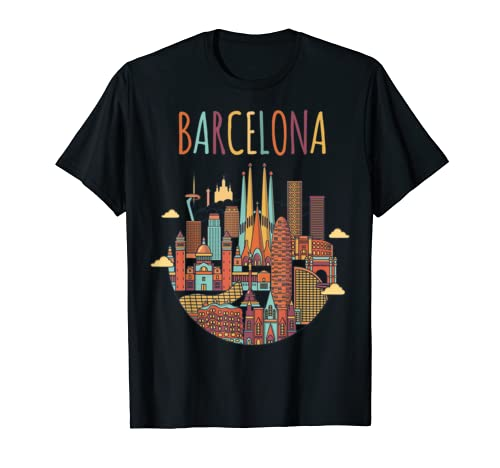 Colorful Travel In Barcelona Spain Family Shirt European Tee T Shirt