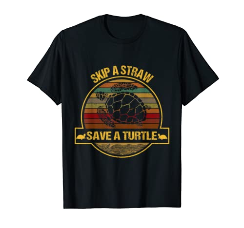 Skip A Straw Save A Turtle Retro Gift For Turtle Lover Shirt