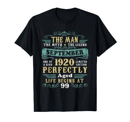 The Man Myth Legend September 1920 T Shirt 99th Birthday T Shirt