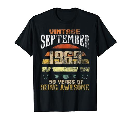 September Vintage 1969 50 Years Birthday T Shirt
