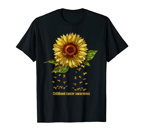 Sunflower Childhood Cancer Awareness Costume Warrior Gifts T Shirt