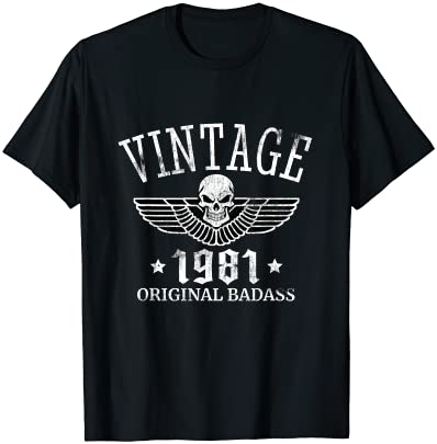 DISTRESSED BORN IN 1981 VINTAGE 40TH BIRTHDAY SKULL WING T-SHIRT