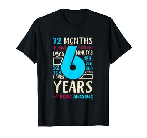 6th Birthday Gift Son Daughter Age Six 6 Year Old Boys Girls T Shirt