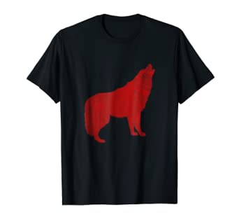 Howling Wolf red graphic Tee Shirt for animal lovers