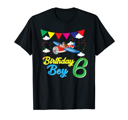 6th Birthday Boy Airplane Pilot Shirt  6 y old Tee Gift